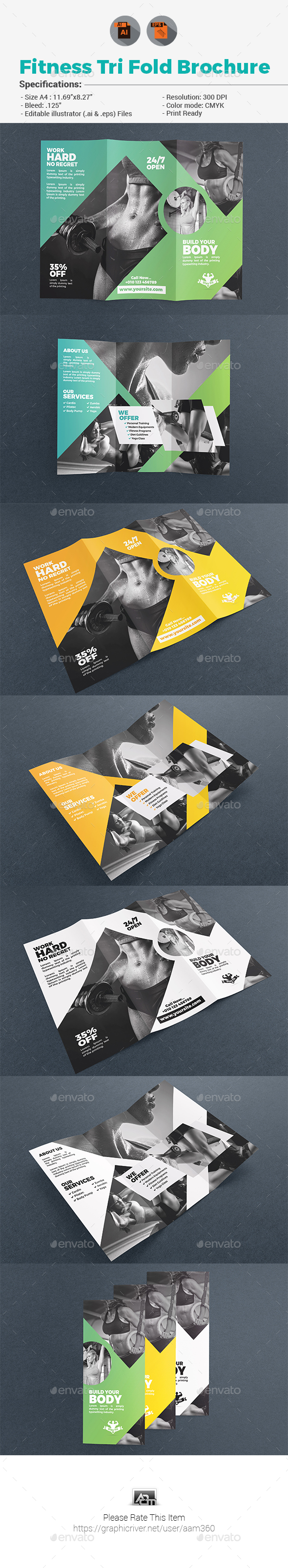 Fitness Tri Fold Brochure - Corporate Flyers