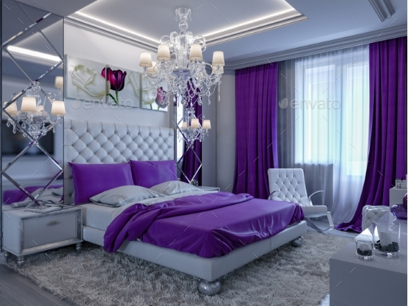 3d Rendering Bedroom in Gray and White Tones with - Architecture 3D Renders