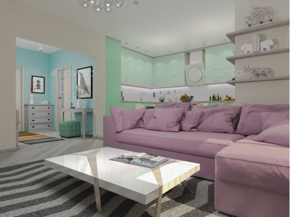 3d Illustration of Small Apartments in Pastel - Architecture 3D Renders