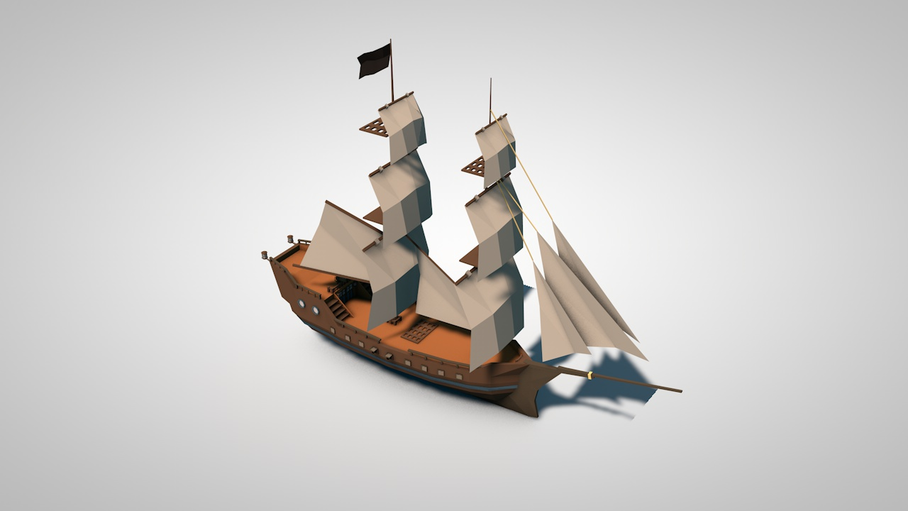 Low Poly Pirate Ships By Addlxon 3docean