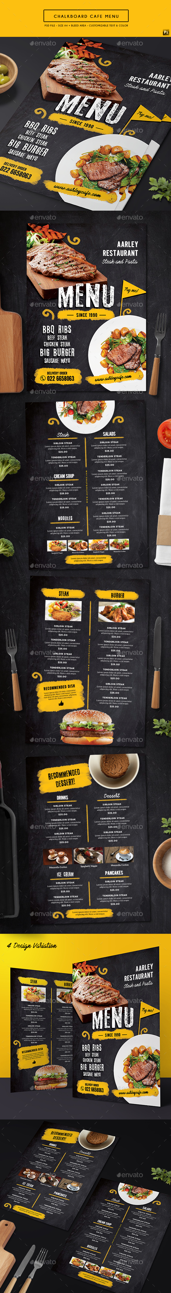 Chalkboard Cafe Menu - Food Menus Print Templates