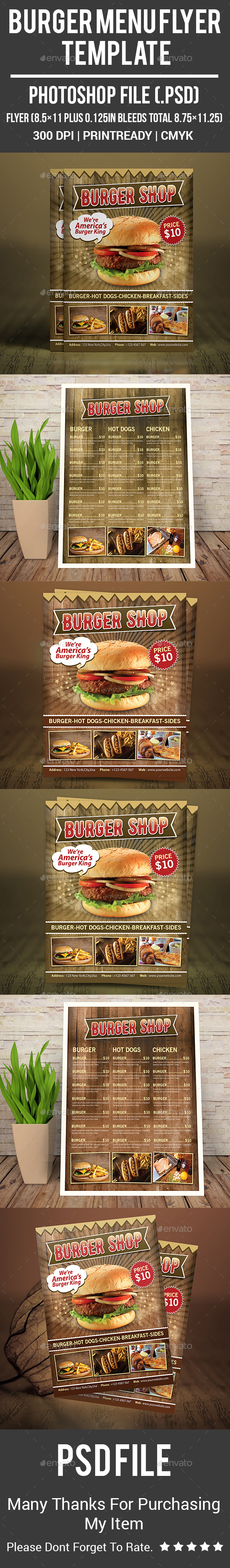 Burger Menu Flyer Template - Food Menus Print Templates