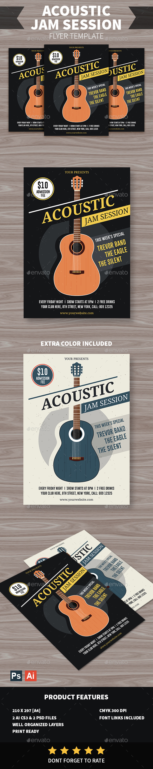 Acoustic Jam Session Flyer - Events Flyers