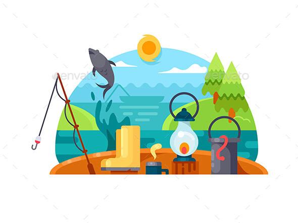 Recreation on Fishing - Miscellaneous Vectors