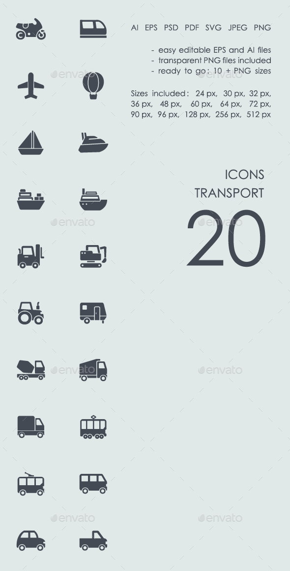 Transport icons - Technology Icons
