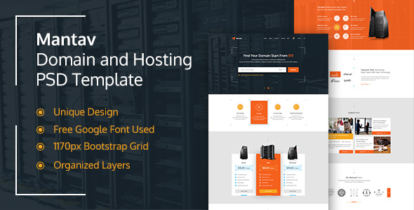 Mantav – Hosting and Domain PSD Template