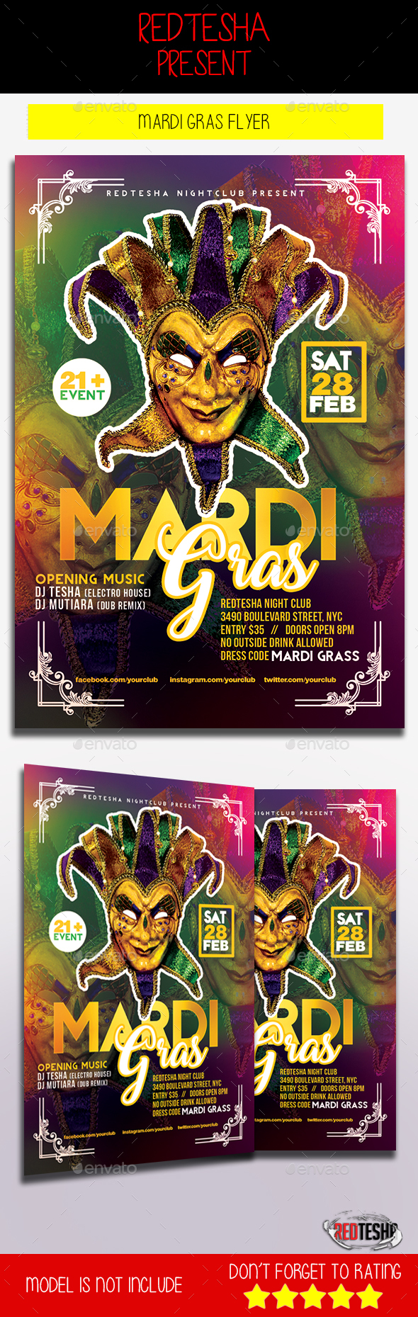 Mardi Gras Flyer - Holidays Events