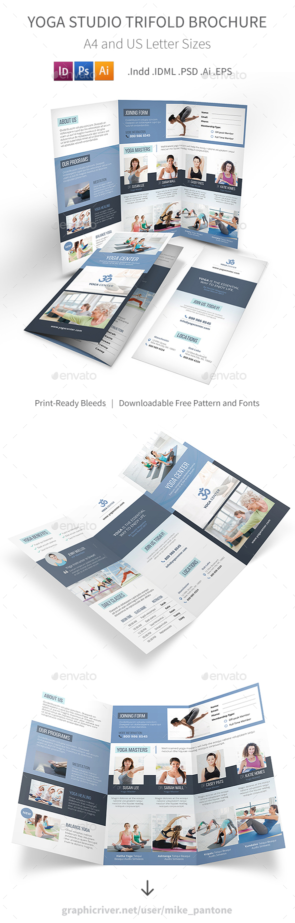 Yoga Studio Trifold Brochure - Informational Brochures
