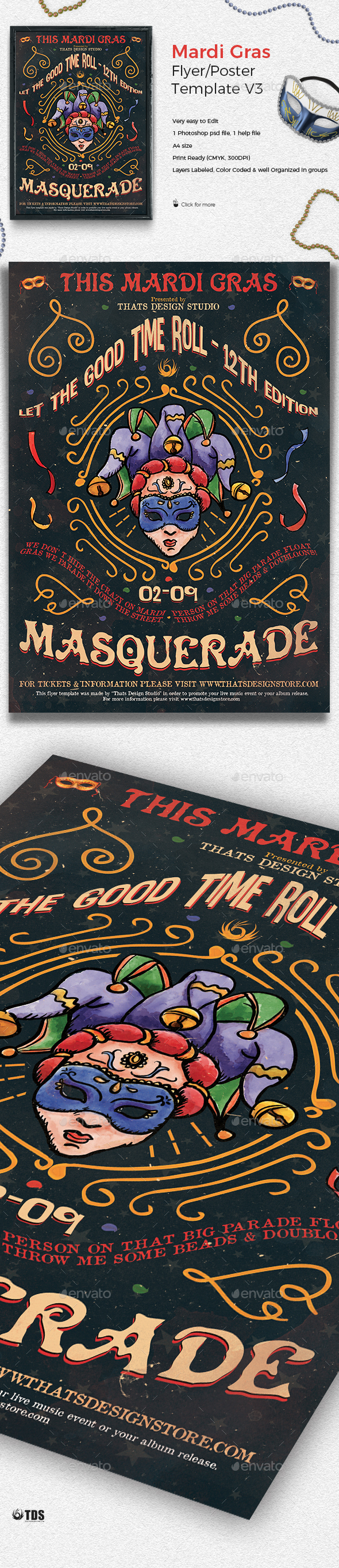 Mardi Gras Flyer Template V3 - Holidays Events