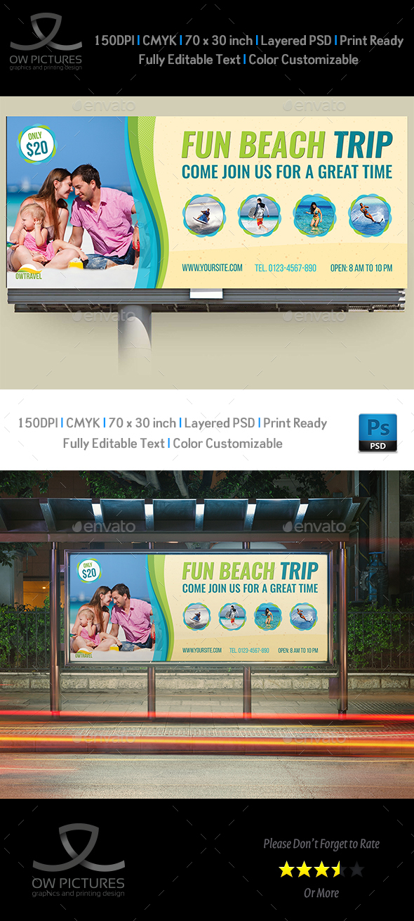 Tour and Travel Billboard Template Vol.2 - Signage Print Templates