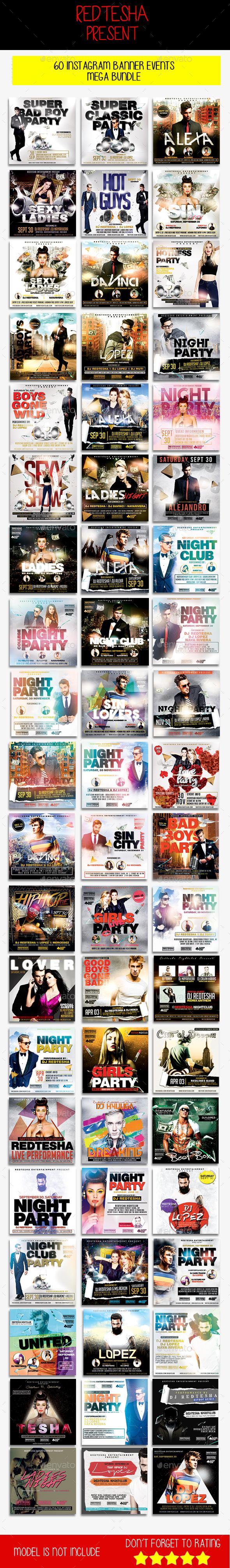 60 Instagram Banner Events Mega Bundle - Banners & Ads Web Elements