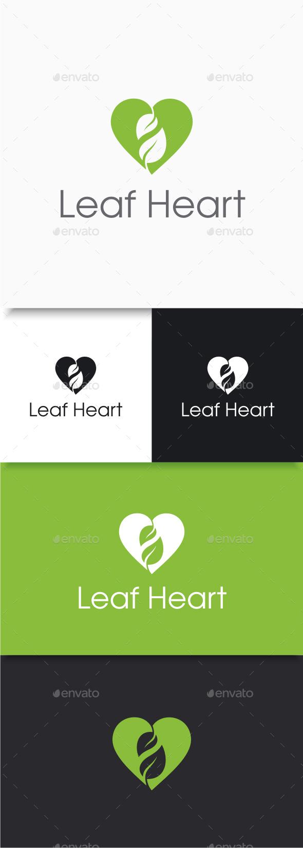 Leaf Heart Logo - Nature Logo Templates