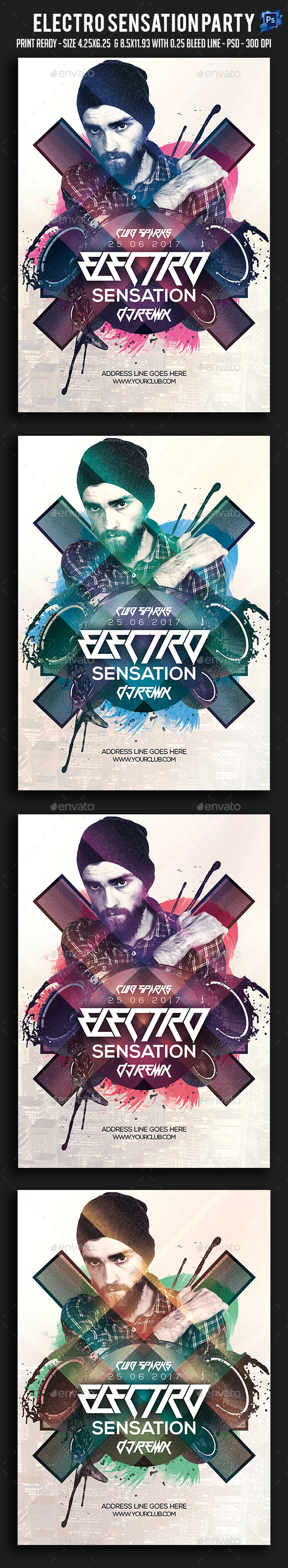 Electro Sensation Party Flyer - Clubs & Parties Events