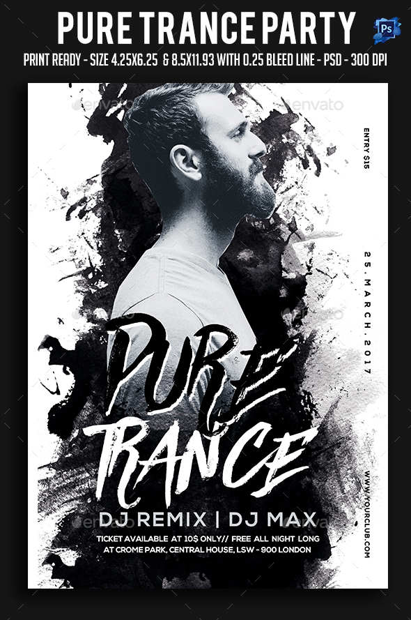 Pure Trance Party Flyer - Clubs & Parties Events