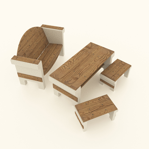 set of garden furniture - 3DOcean Item for Sale