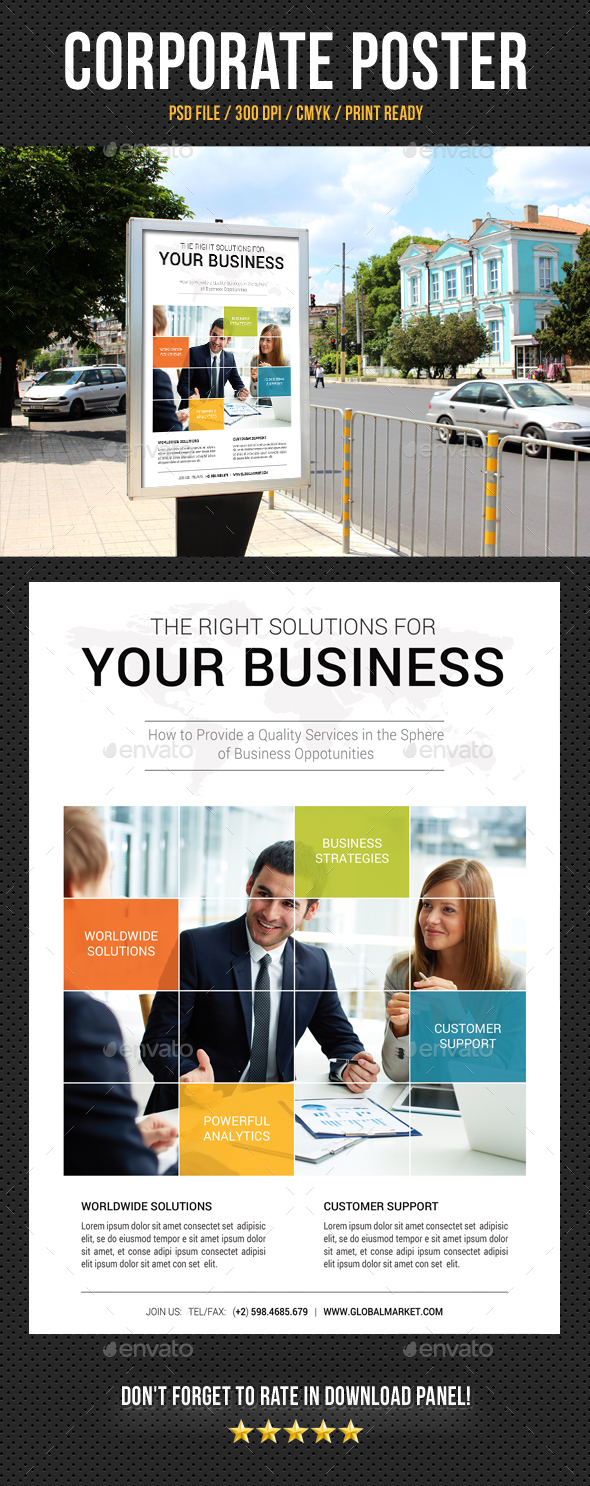Corporate Business Poster Template V18 - Signage Print Templates
