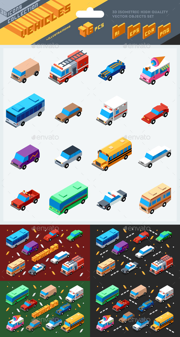 3d Isometric Vehicles Illustrations - Objects Vectors