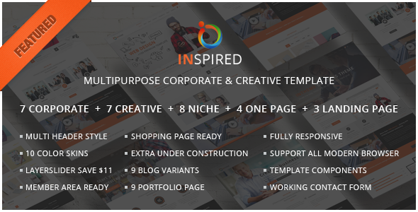 Inspired Multipurpose corporate and creative template - Corporate Site Templates