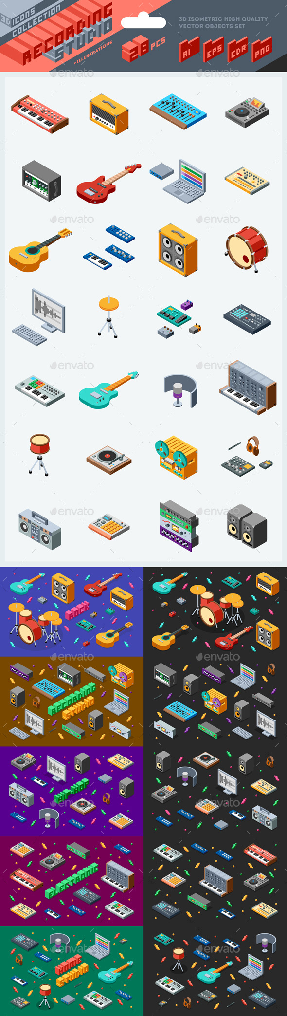 3d Isometric Recording Studio Illustrations - Man-made Objects Objects