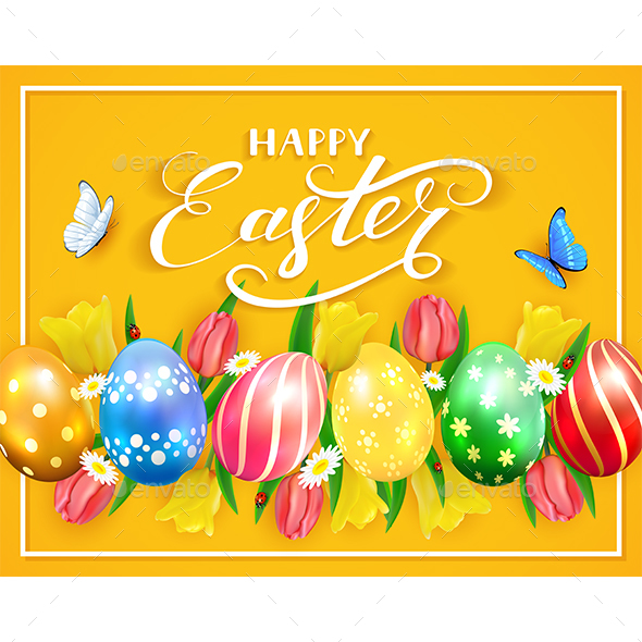 Easter Eggs on Yellow Background - Miscellaneous Seasons/Holidays