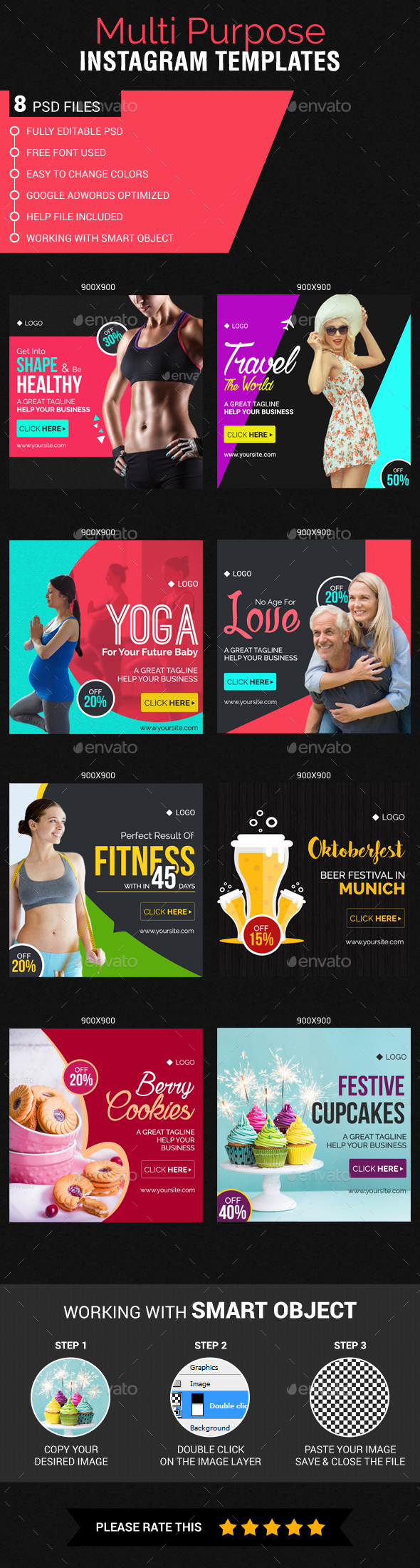 Multipurpose Instagram web Templates - Banners & Ads Web Elements
