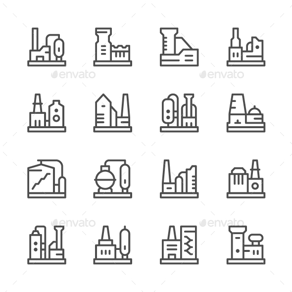 Set Line Icons of Factory - Man-made objects Objects