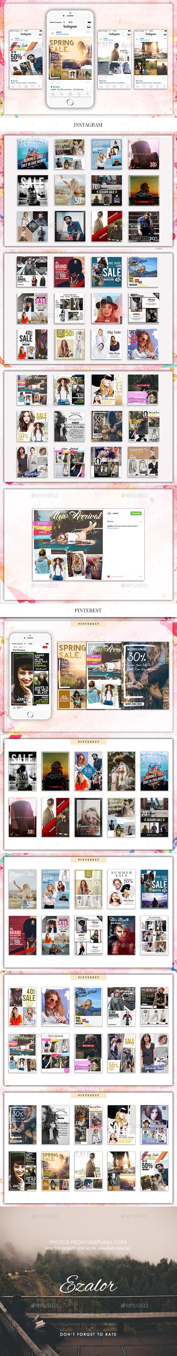 Fashion Insta and Pinterest - Social Media Web Elements