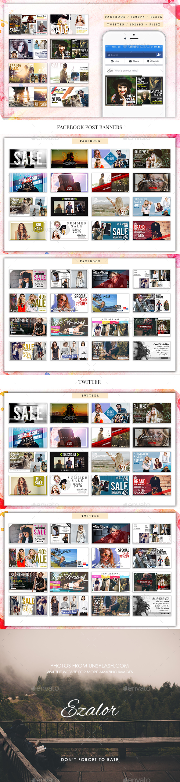 Fashion Facebook Post Banners - Social Media Web Elements