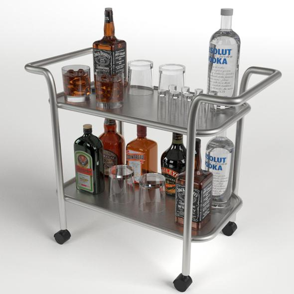 Drinks Trolley Cart 1 - 3DOcean Item for Sale
