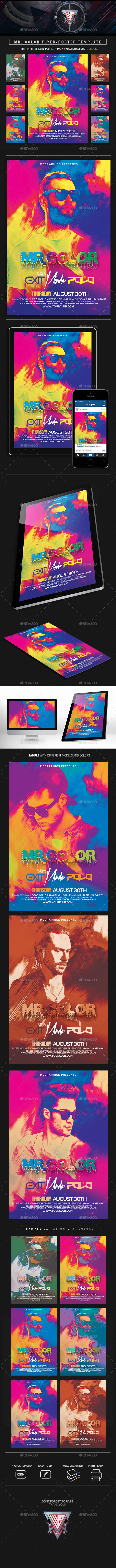 Mr. Color Flyer/Poster Template - Flyers Print Templates