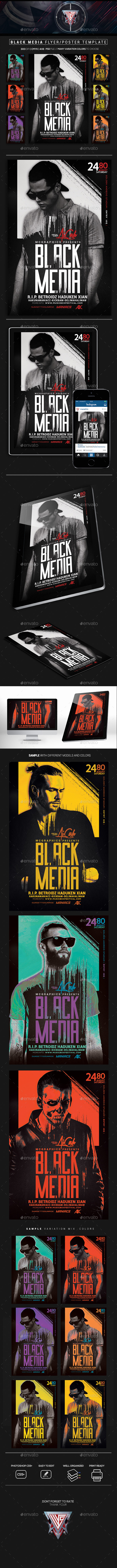 Black Media Flyer/Poste Template - Flyers Print Templates