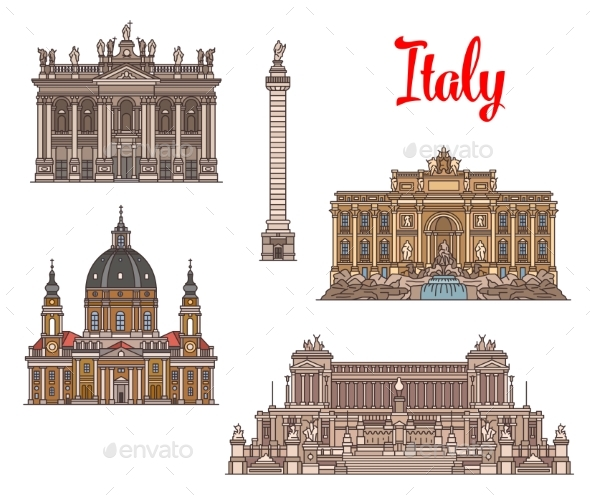 Italian Travel Landmarks and Sightseens - Buildings Objects
