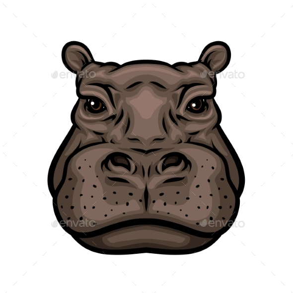 Hippo or African Hippopotamus Animal Isolated Icon - Animals Characters