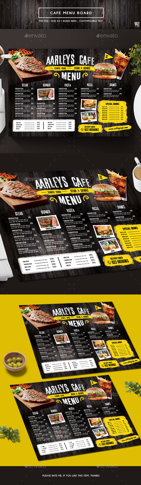 Cafe Menu Board - Food Menus Print Templates