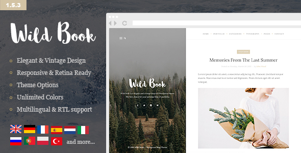 Wild Book – Vintage, Elegant & Summer WordPress Personal Blog Theme (Multilingual, RTL support)
