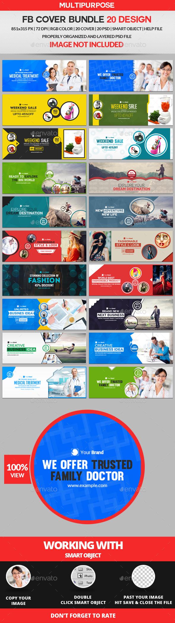 Facebook Cover Bundle Four - 20 Design - Facebook Timeline Covers Social Media