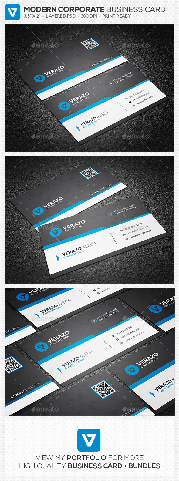 Creative & Modern Corporate Business Card Template - Corporate Business Cards