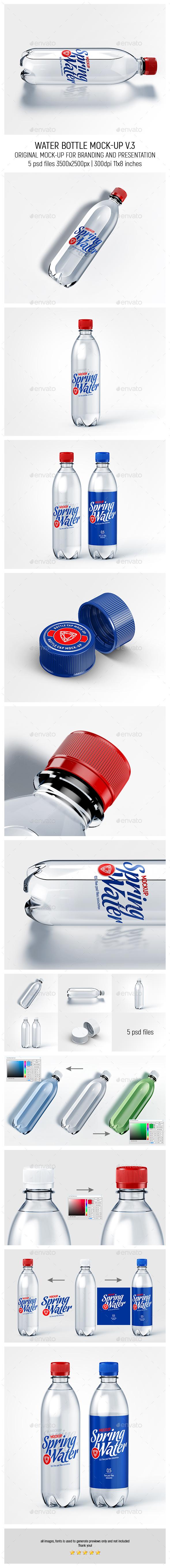 Water Bottle Mock-up v.3 - Food and Drink Packaging