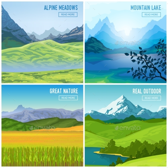 Mountain Landscape Compositions Set - Landscapes Nature