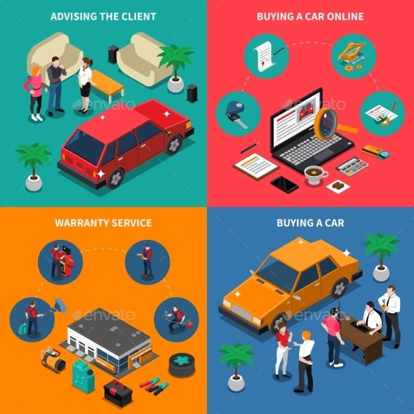 Car Dealership Isometric Concept - Miscellaneous Vectors