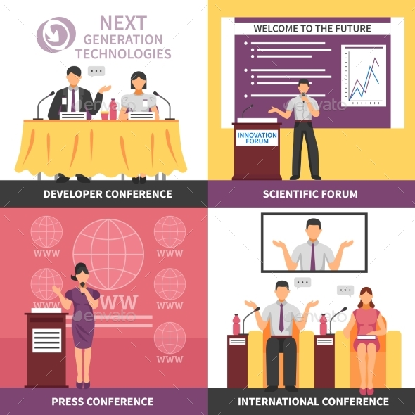 Conference Hall Interior Icon Set - Concepts Business