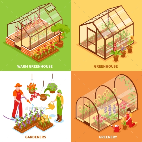 Greenhouse Design Concept Set - Flowers & Plants Nature