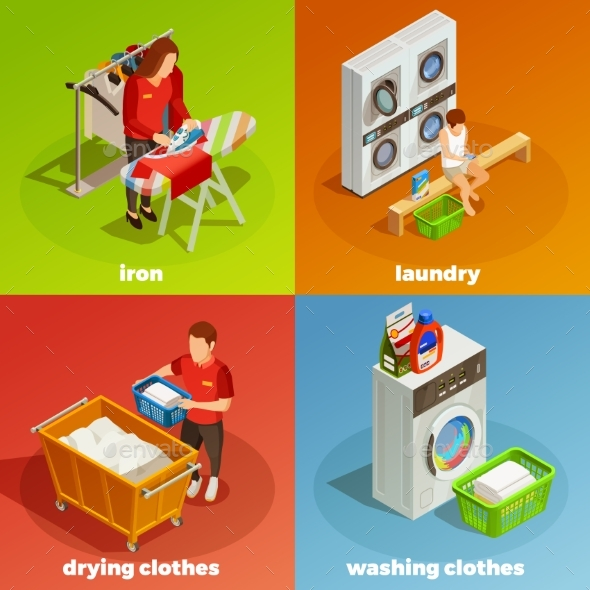 Laundry Isometric Dry Cleaning Composition - Miscellaneous Conceptual