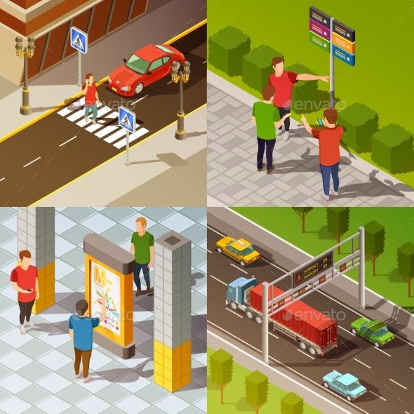 City Navigation Isometric Composition - Travel Conceptual