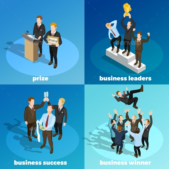 Business Winning Leaders 4 Isometric Icons - Concepts Business