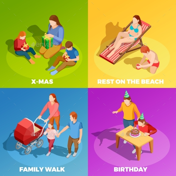 Family Activities 4 Isometric Icons Square - Miscellaneous Seasons/Holidays