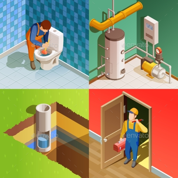 Plumber 4 Colorful Isometric Icons Square - Services Commercial / Shopping