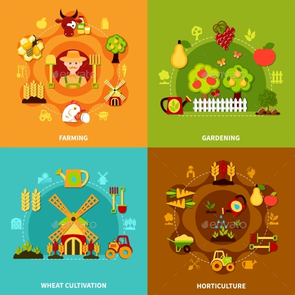 Farming Square Compositions Set - Miscellaneous Conceptual