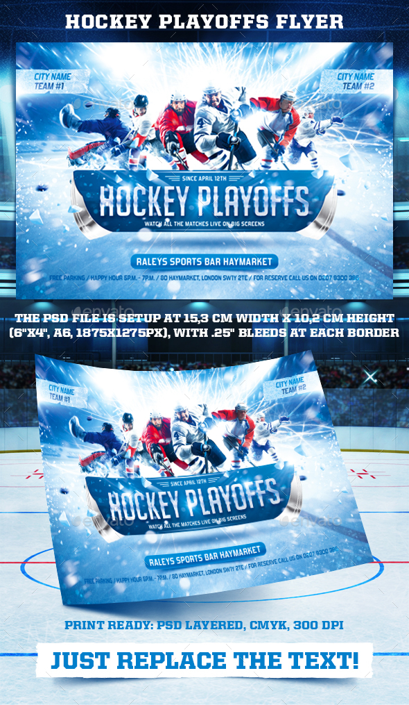 Hockey Playoffs Flyer Template - Sports Events