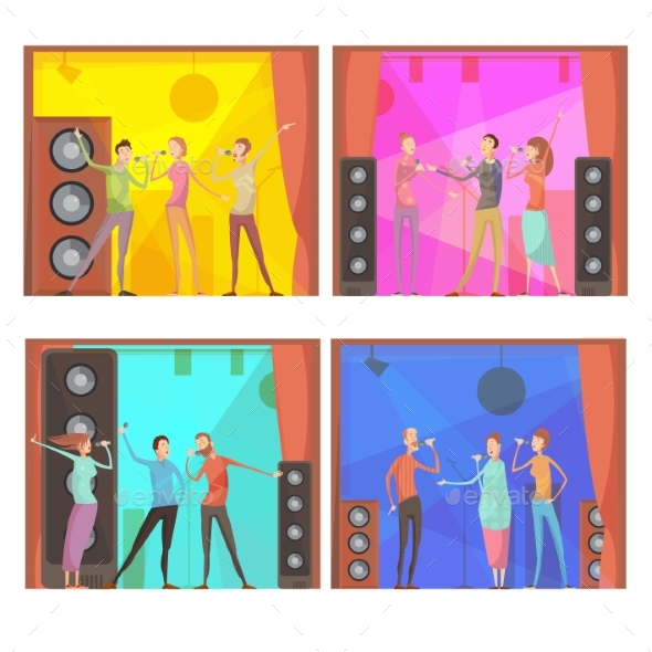 Karaoke Party Compositions Set - Sports/Activity Conceptual